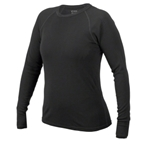 Ibex Women's Woolies Long Sleeve Crew Top: Black