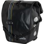 Civia Vert Stripes Waterproof Rear Pannier: Black