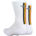 DeFeet Levitator Lite Hi Top Sock: Black/Gold/Red