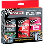 Finish Line Bike Care Value Pack, Includes DRY Lube, Multi Bike Degreaser and Super Bike Wash
