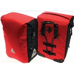 Axiom Typhoon Aero DLX Waterproof Pannier Set: Red/Black