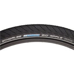Schwalbe Big Apple Tire, 26x2.0 Wire Bead Black with Reflective Sidewall and RaceGuard Protection