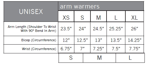 Pearl Izumi Arm Warmer Sizing